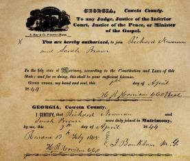 Richard Newman & Sarah Brown Marriage License